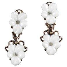 Trifari Forget Me Not Molded Glass Rhinestone Dangle Earrings