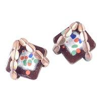 Early Matisse Renoir Enamel Copper Earrings