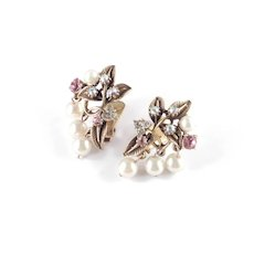 Florenza Rhinestone Faux Pearl Dangle Earrings