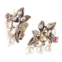 Florenza Rhinestone Faux Pearl Dangle Earrings
