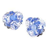 Miriam Haskell Venetian Speckled Mottled Glass Bead Earrings