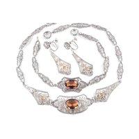 1920s Faux Topaz Citrine Art Glass Chromium Necklace Bracelet Earrings Parure Set