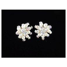 Hobe Crystal Glass Bead Faux Pearl Earrings