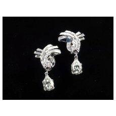 Trifari Alfred Philippe Baguette Rhinestone Earrings Pear Dangle Rhodium