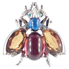 Trifari Alfred Philippe Sterling Silver Cabochon Art Glass Rhinestone Fly Bug Brooch Pin