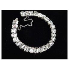 Art Deco Era Emerald Cut Rhinestone Line Bracelet