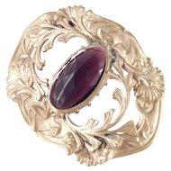 Victorian Brass Amethyst Glass Sash Pin Brooch