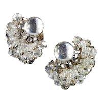 Miriam Haskell Rhinestone Crystal Bead Glass Cabochon Earrings