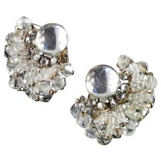 Miriam Haskell Rhinestone Crystal Bead Glass Cabochon Earrings