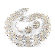 Kramer Diamond Look Crystal Glass Bead Necklace Earrings Set Original Box