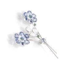 Art Glass Rhinestone Enamel Flower Brooch Pin