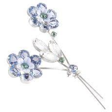 Art Glass Rhinestone Enamel Flower Brooch Pin