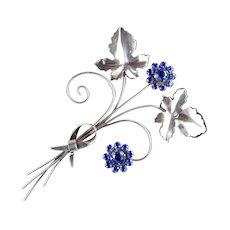 Sterling Silver Rhinestone Floral Spray Brooch Pin