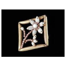 Large Rhinestone Framed Flower Blossom Brooch Pin