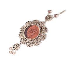 Goldette Glass Intaglio Pendant Necklace