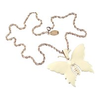 Miriam Haskell Enamel Butterfly Pendant Necklace