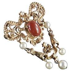 Florenza Faux Carnelian Cabochon Pearl Shield Dangle Brooch Pin