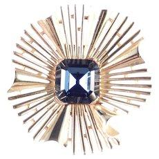 Trifari Faux Sapphire Rhinestone Starburst Brooch Pin
