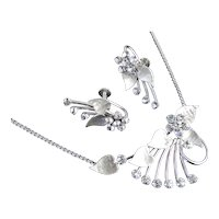 Krementz Rhinestone Necklace Earrings Demi Parure Set