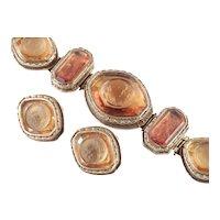 Amber Glass Cameo Hinged Panel Bracelet Earrings Demi Parure Set