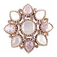 Large Rhinestone Faux Opal Star Brooch Pin