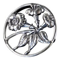 Danecraft Sterling Silver Trumpet Flower Brooch Pin