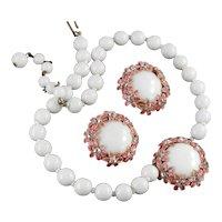 Robert Milk Glass Enamel Rhinestone Necklace Earrings Demi Parure Set