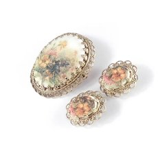 Western Germany Sugar Bead Stone Brooch Pin Earrings Demi Parure Set