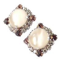 Marbled Glass Moonstone Cabochon Rhinestone Earrings