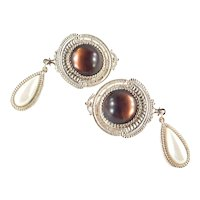 1928 Brand Moonglow Cabochon Faux Pearl Pendeloque Pendant Earrings