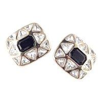 Swarovski SAL Emerald Trillion Cut Rhinestone Earrings