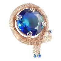 Art Glass Rhinestone Mesh Brooch Pin