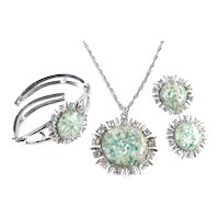 Coro Lucite Confetti Cabochon Rhinestone Necklace Bracelet Earrings Set