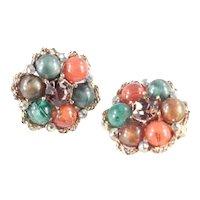 Kramer Bead Rhinestone Earrings