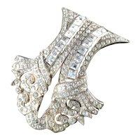 Art Deco Large Rhinestone Arched Shield Pot Metal Dress Clip