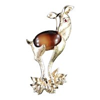 Tiger's Eye Glass Cabochon Rhinestone Fawn Deer Figural Brooch Pin