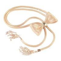 Mesh Coil Bow Lariat Bolo Necklace Chain Tassel Fringe