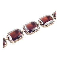 Judy Lee Unsigned Topaz Art Glass Panel Link Bracelet