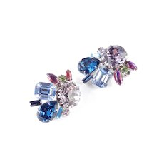 Rhinestone Cabochon Cluster Earrings  Dentelle Facets Rhodium Plate