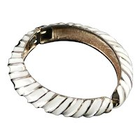 Les Bernard Enamel Domed Hinged Cuff Bracelet