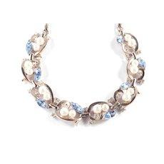 Trifari Rhinestone Faux Pearl Necklace 1950s