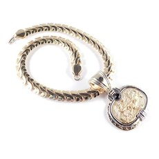 Napier Charioteer Medallion Pendant Choker Necklace Glass Stone