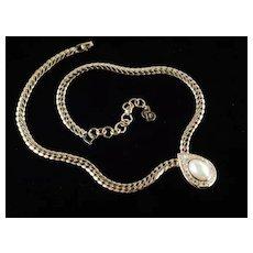 Christian Dior Rhinestone Faux Pearl Necklace