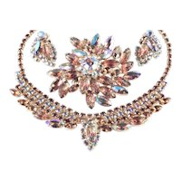 Rhinestone Pressed Molded Glass Necklace Brooch Pin Earrings Parure Set
