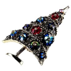 Weiss Margarita Rhinestone Sugarplum Christmas Tree Brooch Pin