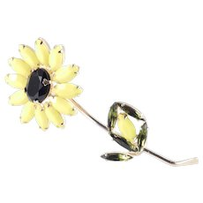 Weiss Rhinestone Art Glass Long Stemmed Sunflower Brooch Pin