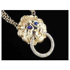 Carlyle Lion Figural Medallion Door Knocker Necklace Rhinestone Faux Lapis Cabochon