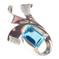 Sterling By Glamour Silver Vermeil Art Glass Rhinestone Brooch Pin