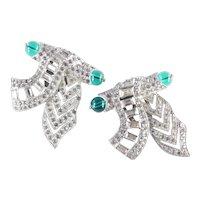 Art Deco Rhinestone Peking Glass Bead Scroll Sash Dress Clip Pair