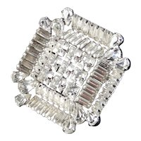 Joseph Warner Baguette Rhinestone Brooch Pin Rhodium Plate